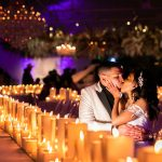 kiss, couple, candles, reception