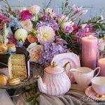 cake, taste, floral, tea set