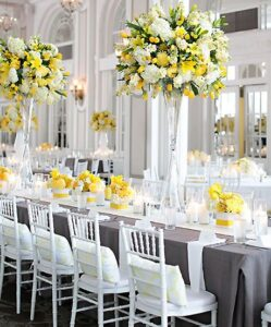 Pantone Colour of the Year_ Gray and yellow reception tables