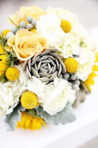Grey, yellow and white bridal bouquet