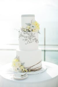 Wedding Cake_ white, yellow and grey