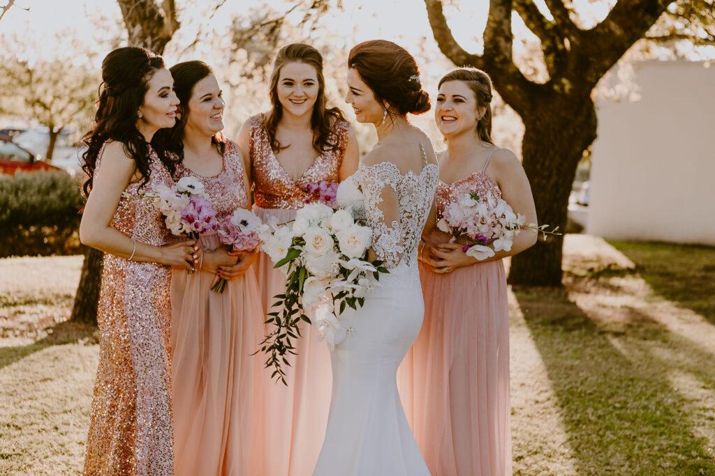 Coordinated guest dress code wedding trend
