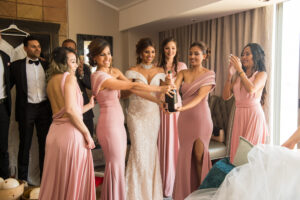 bride and her entourage