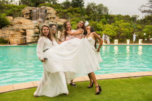 Pool party_all white, bride and entourage