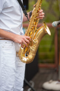 Saxophone player, entertainment, Pool party